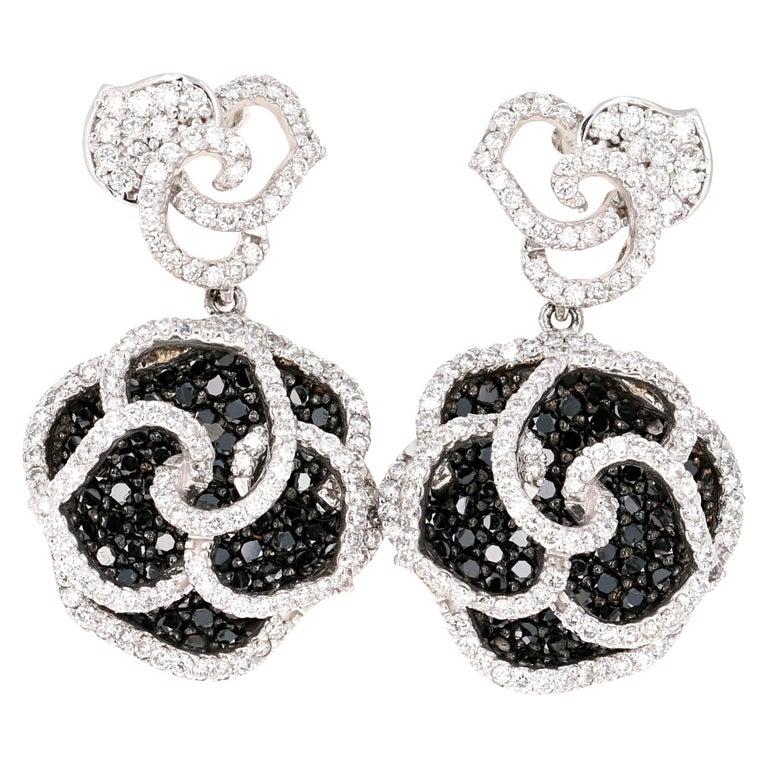 3.54 Carat Black and White Diamond 14 Karat White Gold Rose Shape Earrings For Sale