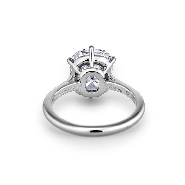 Modern 3.54 Carat Cushion Brilliant Cut Diamond Platinum Engagement Ring