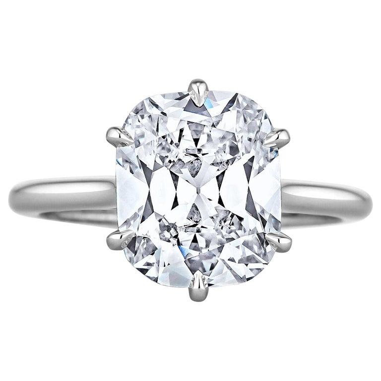 3.54 Carat Cushion Brilliant Cut Diamond Platinum Engagement Ring