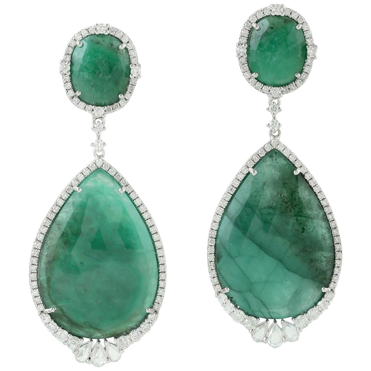 35.4 Carat Emerald Diamond 18 Karat Gold Earrings