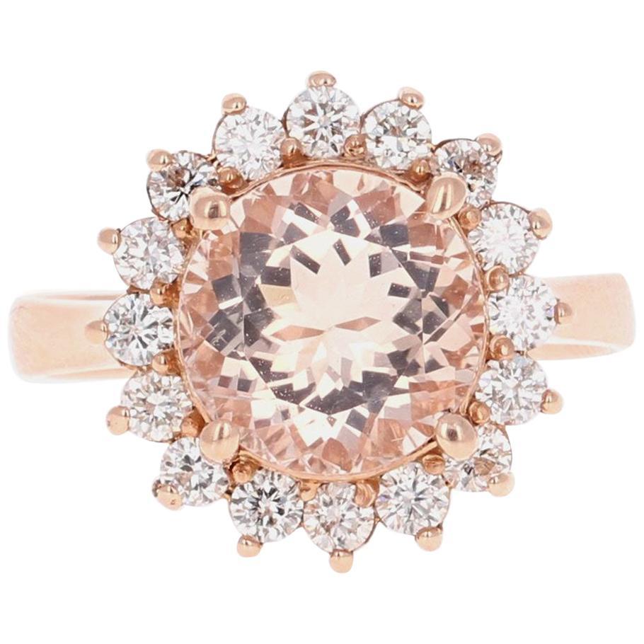 3.54 Carat Morganite Diamond 14 Karat Rose Gold Cocktail Ring