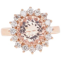 3.54 Carat Morganite Diamond 14 Karat Rose Gold Cocktail Ring