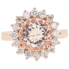 3.54 Carat Morganite Diamond Rose Gold Cocktail Ring