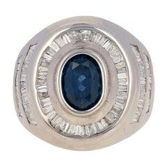 3.54 Carat Oval Cut Sapphire and Diamond Ring, 14 Karat White Gold Halo Men's