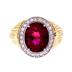 3.54 Carat Oval Faceted Pink Tourmaline Diamond Halo Gold Cocktail Ring