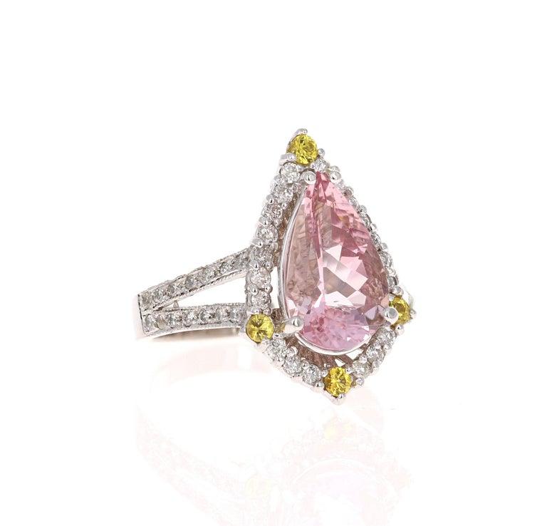 Modern 3.54 Carat Pink Morganite Diamond 14 Karat White Gold Bridal Ring