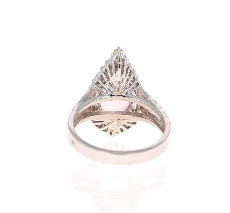 Pear Cut 3.54 Carat Pink Morganite Diamond 14 Karat White Gold Bridal Ring