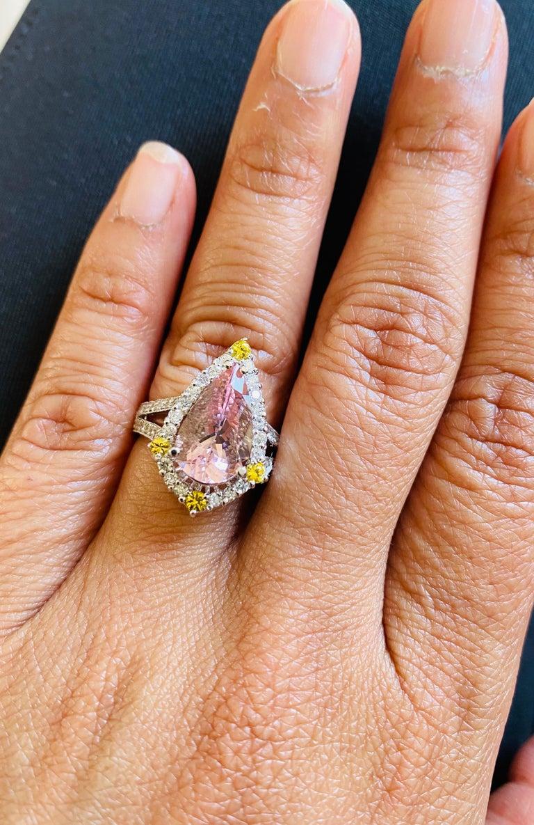 3.54 Carat Pink Morganite Diamond 14 Karat White Gold Bridal Ring In New Condition In San Dimas, CA