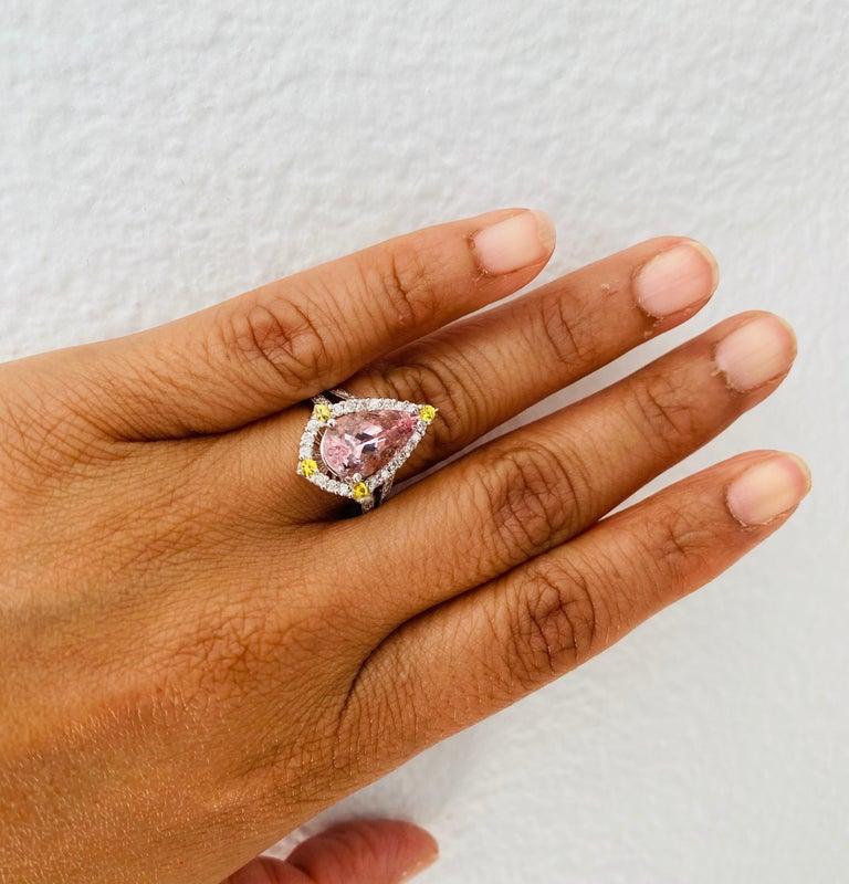 Women's 3.54 Carat Pink Morganite Diamond 14 Karat White Gold Bridal Ring