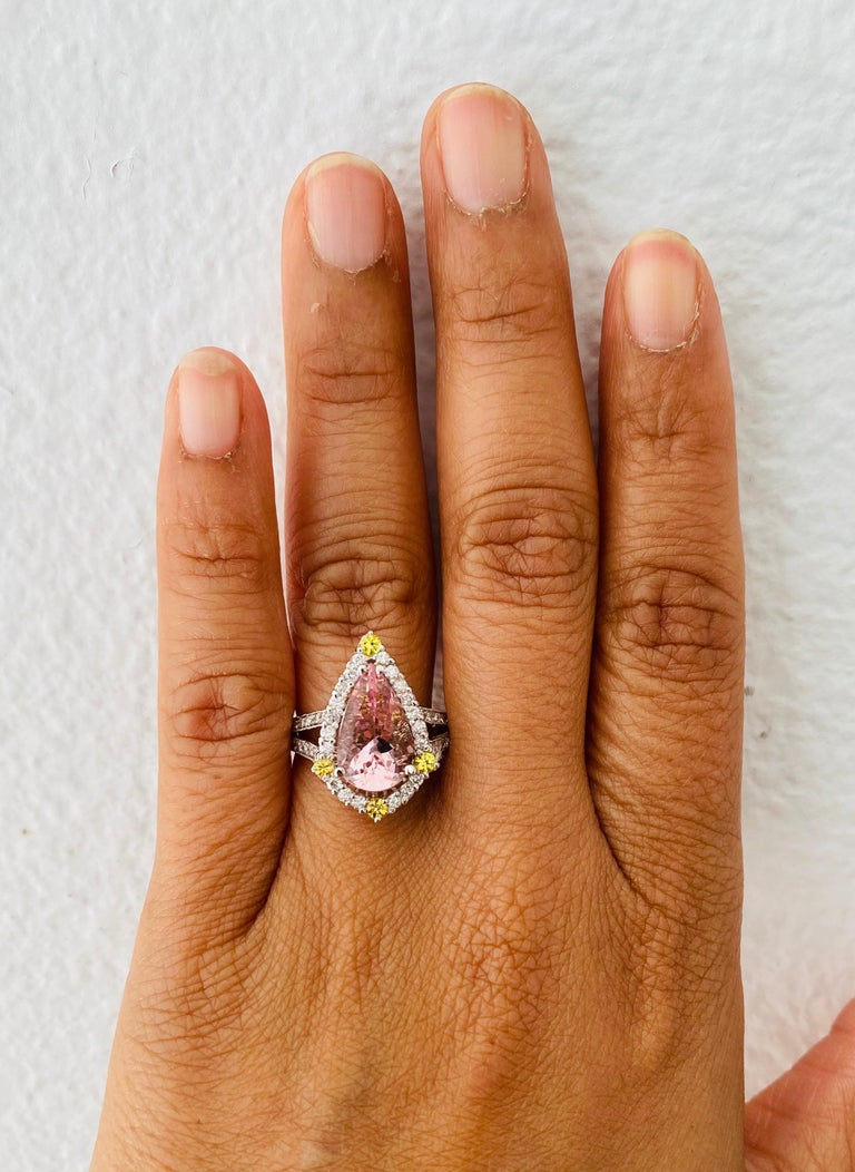 3.54 Carat Pink Morganite Diamond 14 Karat White Gold Bridal Ring 1