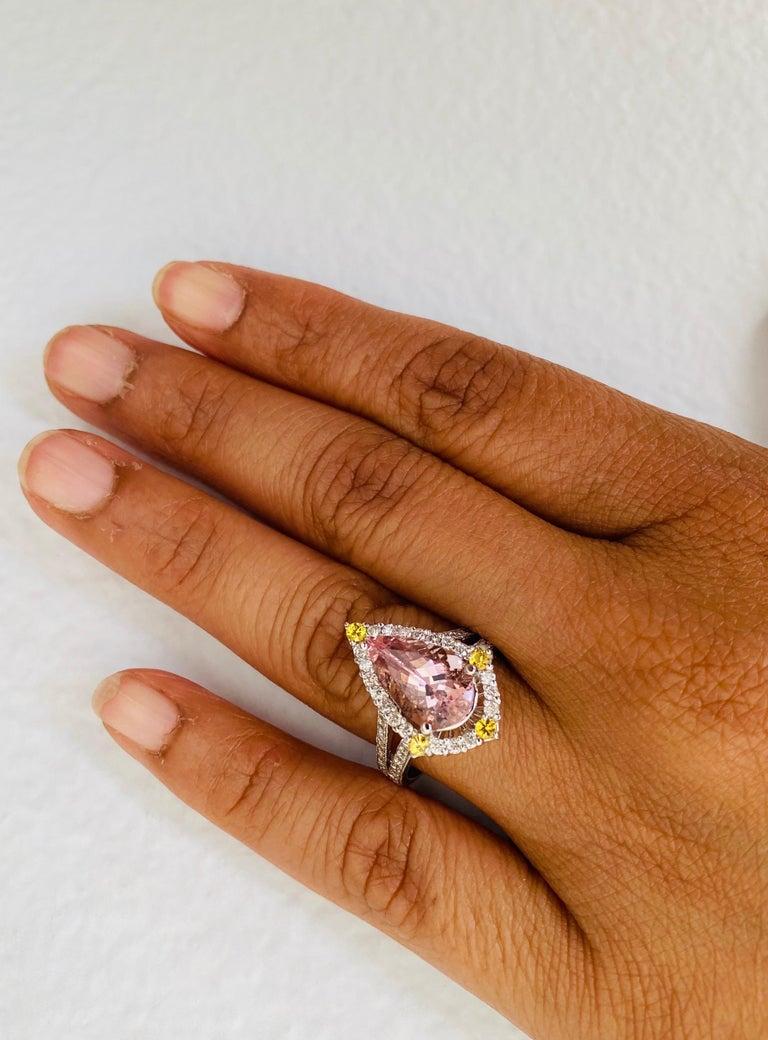 3.54 Carat Pink Morganite Diamond 14 Karat White Gold Bridal Ring 2