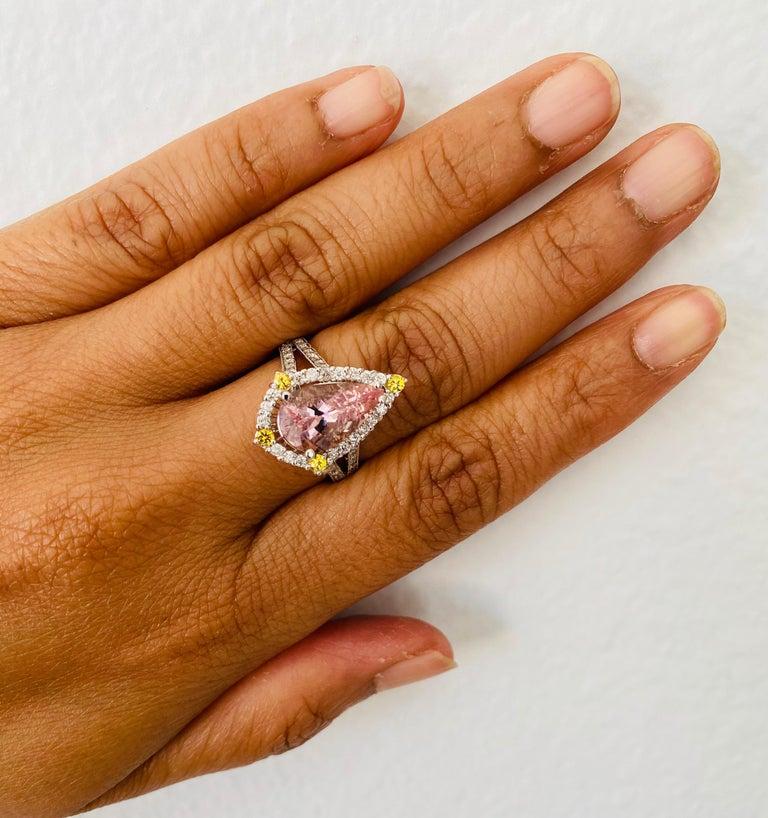 3.54 Carat Pink Morganite Diamond 14 Karat White Gold Bridal Ring 3