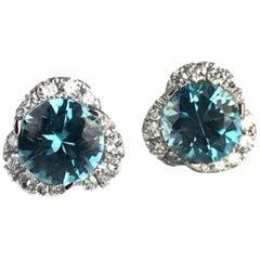 3.54 Carat Round Blue Zircon and Diamond Earrings in 14 Karat White Gold