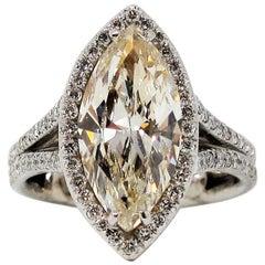 3.54 Carat Total Marquis Diamond Halo Split Shank Engagement Ring in Platinum