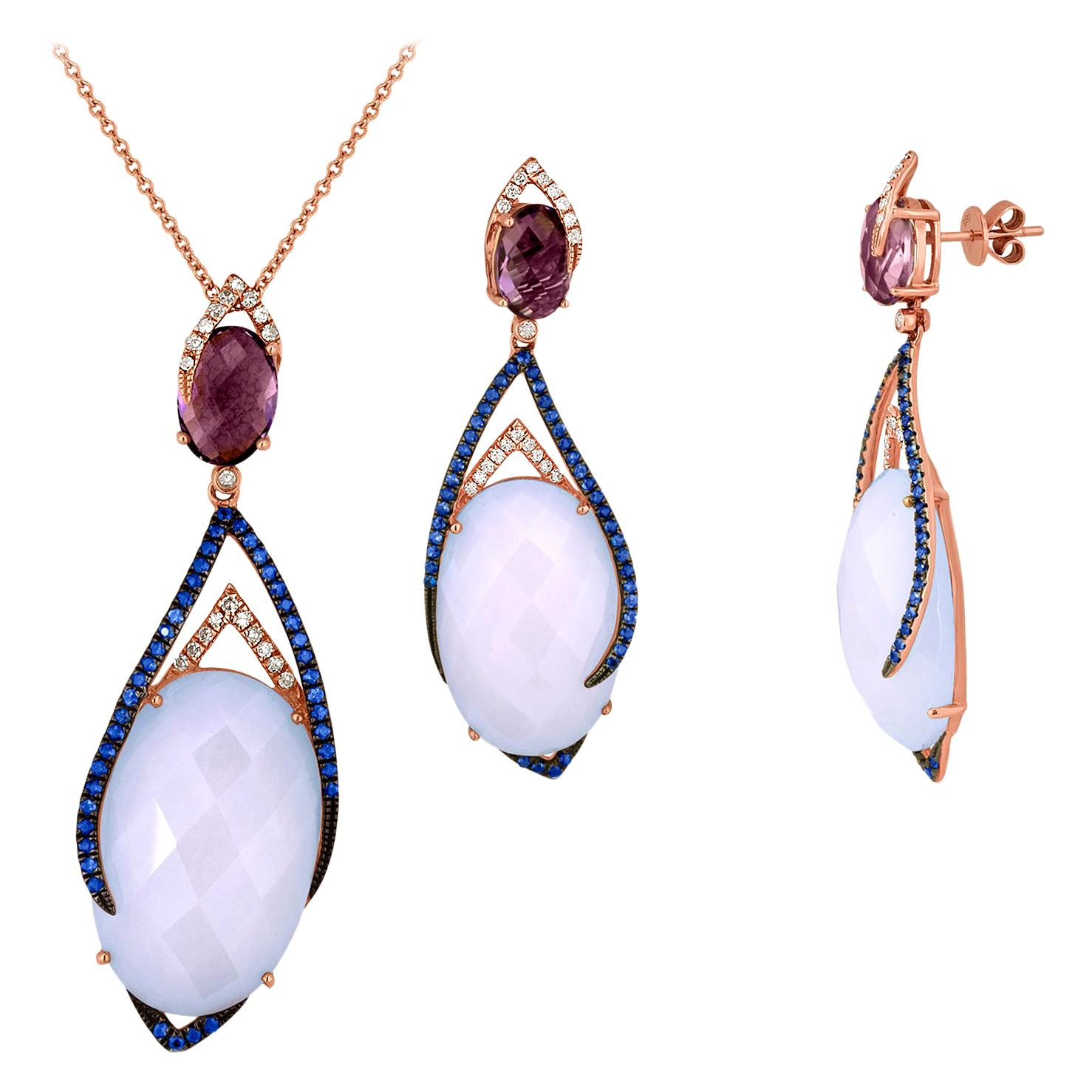 35.45 Carat Chalcedony Sapphire and Amethyst Earrings and Necklace Set