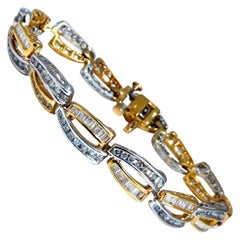 3.54ct Natural Baguette and Round Diamonds Channel Bracelet 14kt Gold Open Deco