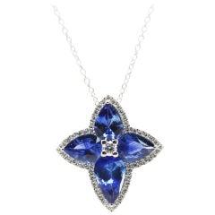 3.55 Carat Blue Pear Shape Sapphire and White Diamond Cross Pendant Necklace
