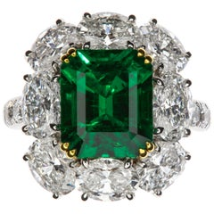 Chatila 3.55 Carat Colombian Emerald and Diamond Ring