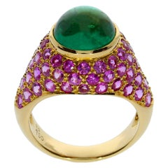 Chatila 3.55 Carat Colombian Emerald and Pink Sapphire Ring