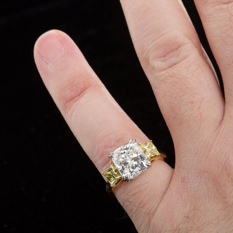 3.55 Carat Cushion Cut Diamond and Fancy Intense Yellow Princess Sides Ring GIA For Sale 5