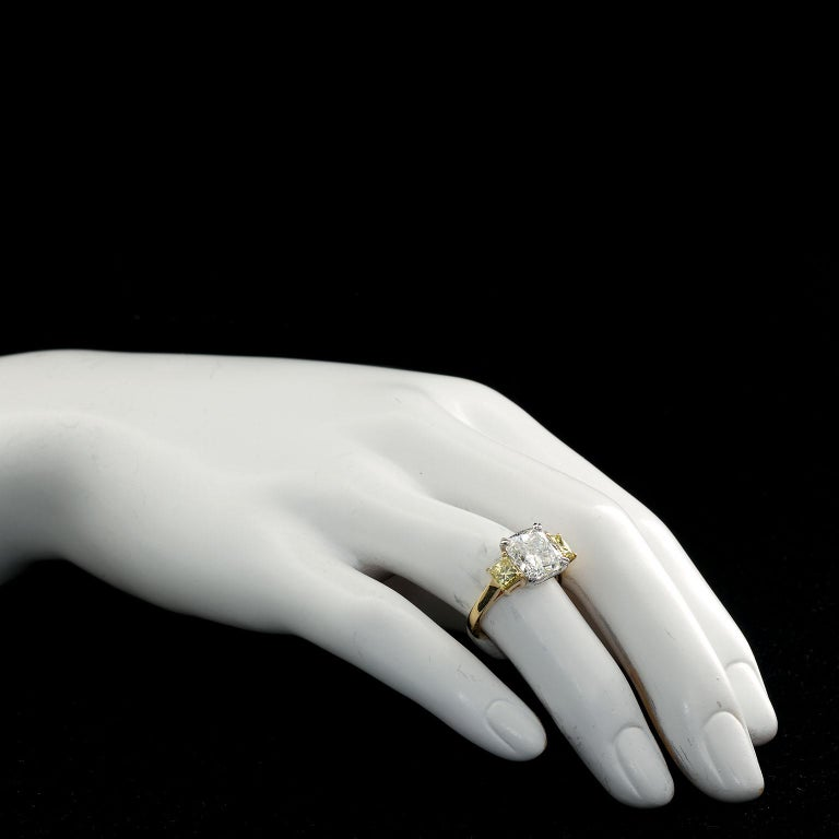 Contemporary 3.55 Carat Cushion Cut Diamond and Fancy Intense Yellow Princess Sides Ring GIA For Sale