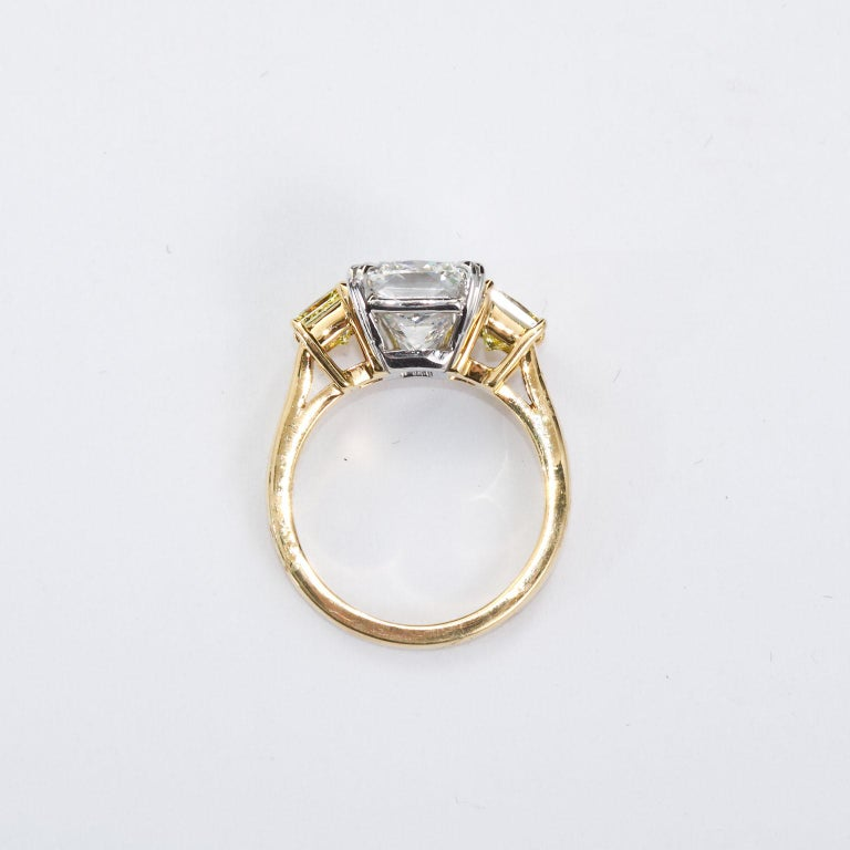 Women's 3.55 Carat Cushion Cut Diamond and Fancy Intense Yellow Princess Sides Ring GIA For Sale