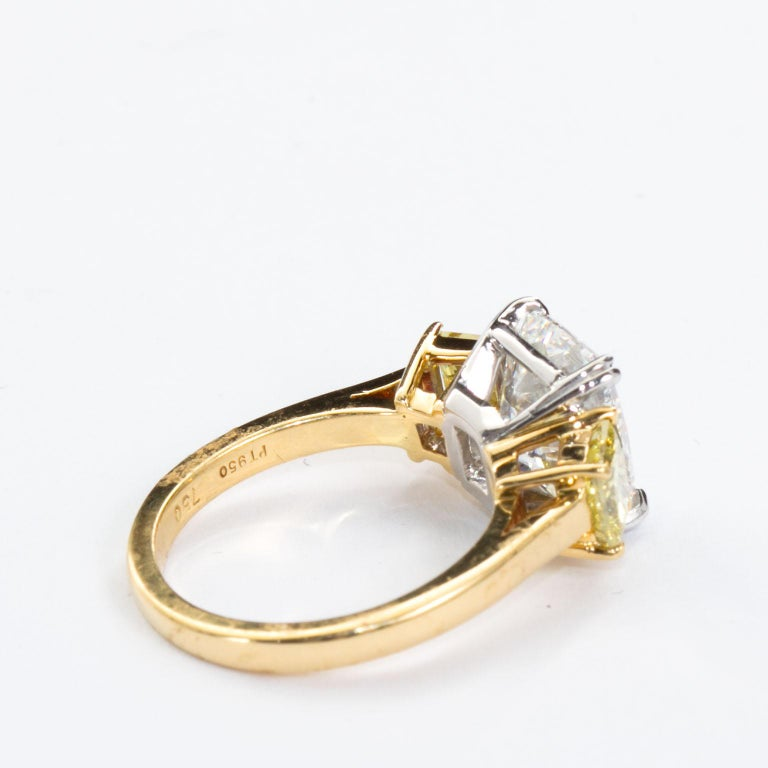 3.55 Carat Cushion Cut Diamond and Fancy Intense Yellow Princess Sides Ring GIA For Sale 1
