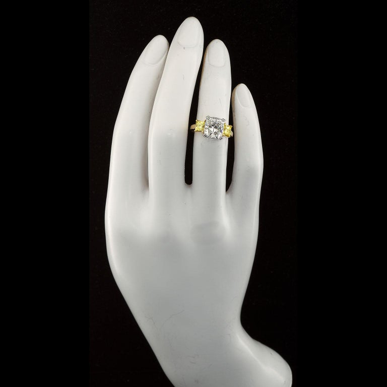 3.55 Carat Cushion Cut Diamond and Fancy Intense Yellow Princess Sides Ring GIA For Sale 4