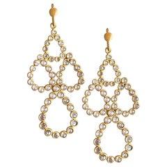 3.55 Carat Diamond 18 Karat Yellow Gold Pear Earrings by Lauren Harper