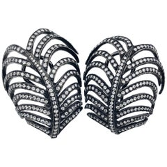 "3.55 Carat ""Kentia Palm"" Diamond Earrings in Black Rhodium Over White Gold"
