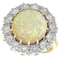 3.55 Carat Opal and 2.68 Carat Diamond Yellow Gold Cocktail Ring, circa 1999