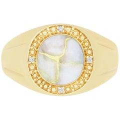 3.55 Carat Oval Gold in Quartz and Diamond Men's Ring