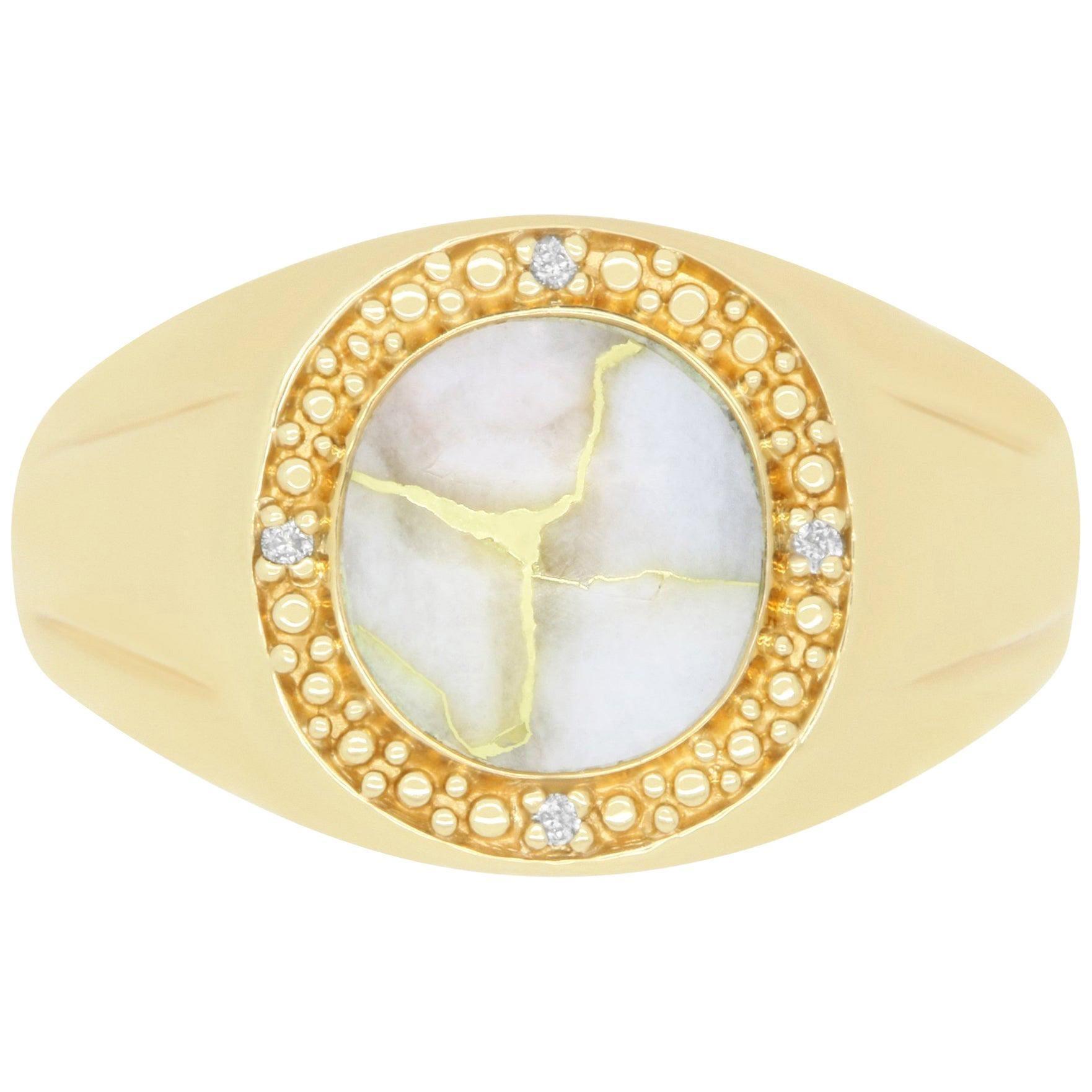 Gold in Quartz Diamond Unisex Men's Gent's Cocktail Dome Ring 14K Yellow