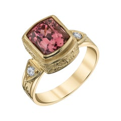 3.55 Carat Pink Tourmaline, Diamond Yellow Gold Handmade Engraved Band Ring