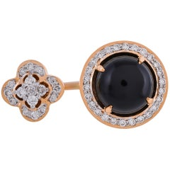3.55 Carat Black Onyx Pave Set Diamond 18 Karat Yellow Gold Open Band Ring