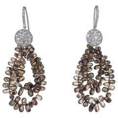35.55 Carat Natural Brown Briolette Diamond Dangle Earrings