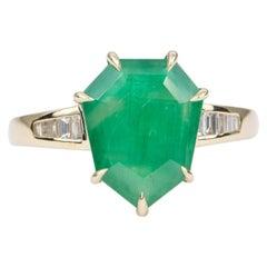 3.55ct Shield Shape Brazilian Emerald Baguette Diamond 14K Gold Ring AD2118-3