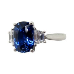 3.56 Carat Blue Cushion Cut Sapphire and Diamond Platinum Ring