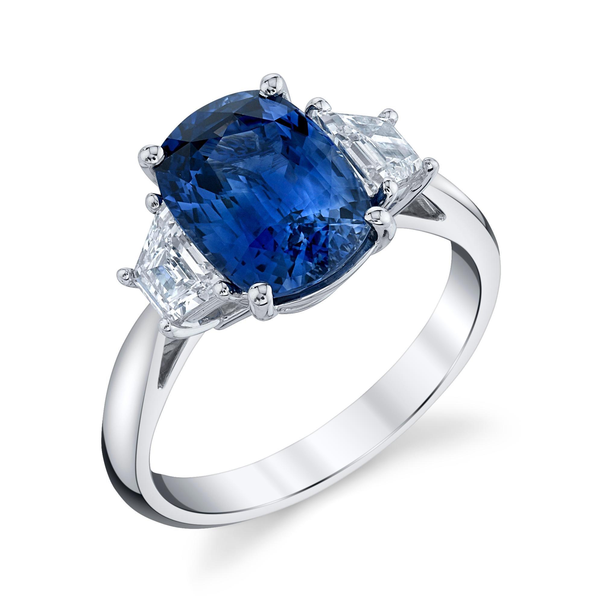 3.56 ct. Blue Sapphire Cushion GIA, Diamond, Platinum 3-Stone Engagement Ring