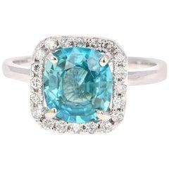 3.56 Carat Blue Zircon Diamond 14 Karat White Gold Ring
