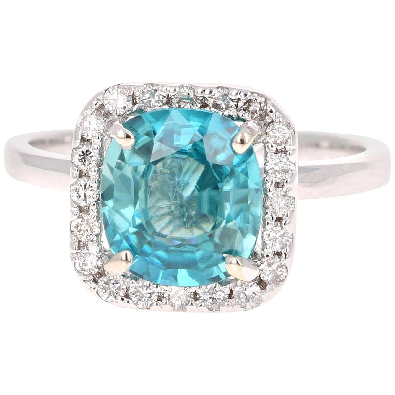 3.56 Carat Blue Zircon Diamond White Gold Engagement Ring 14 Karat White Gold