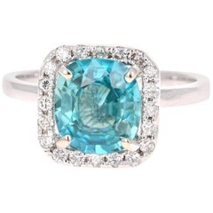 3.56 Carat Blue Zircon Diamond White Gold Engagement Ring 14 Karat White Gold