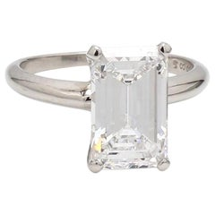 3.56 Carat D IF Emerald Cut Diamond Ring, GIA Certified