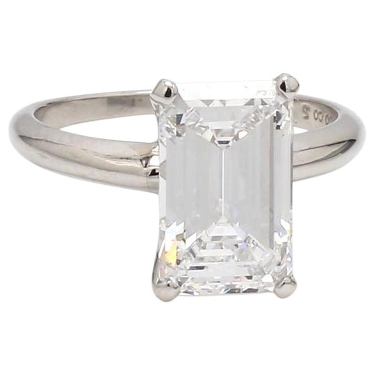 3.56 Carat D IF Emerald Cut Diamond Ring, GIA Certified For Sale