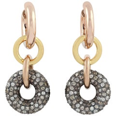 Interlocking Diamond Hoop 18 Karat Earrings