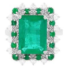 3.56 Carat Emerald and Diamond Ring