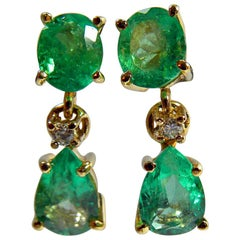 3.56 Carat Natural Colombian Emerald Drop Earrings 18 Karat