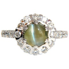 3.56 Carat Natural Diamond Chrysoberyl Mesmerizing Cats Eye Ring 14 Karat Khaki