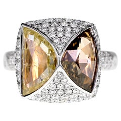 3.56 Carat Natural Yellow and Brown Diamond Cocktail Ring