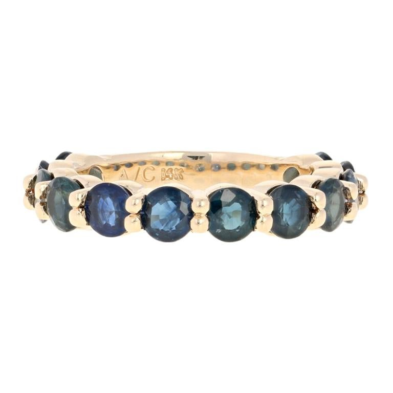 3.56 Carat Round Brilliant Sapphire Band Ring, 14 Karat Gold Wedding Anniversary
